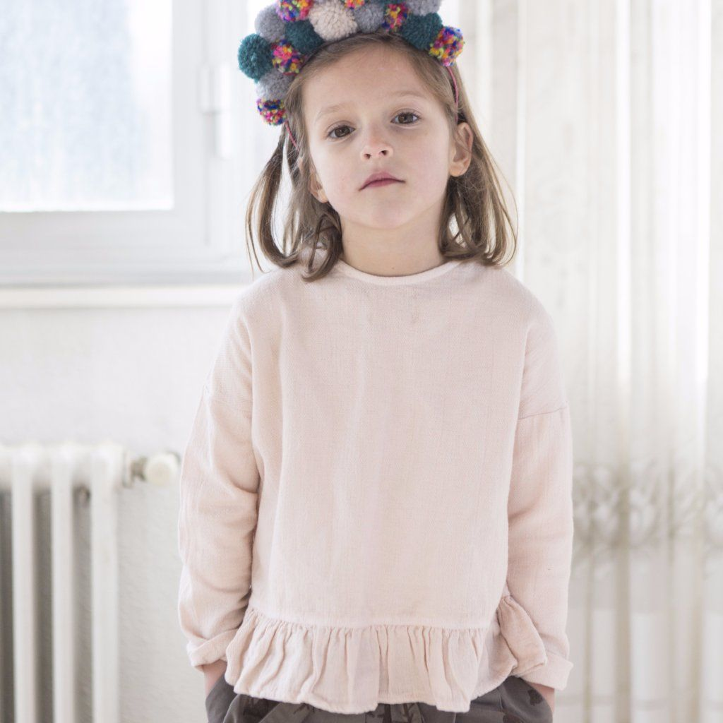 Pink Grey Folk Cross Blouse, Yellow Pelota - BubbleChops LLC
