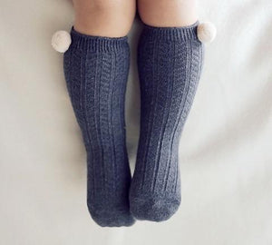 Charcoal Ribbed Knee High Socks, Happy Prince - BubbleChops LLC