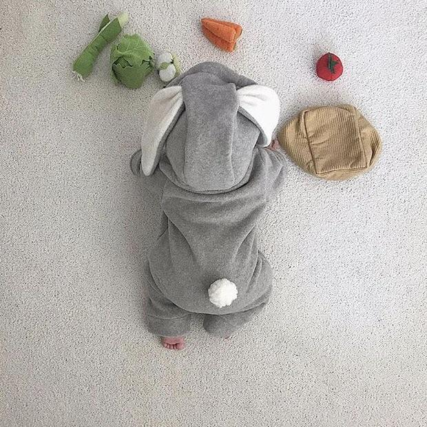 Tailed Fleece Bunny Jumpsuit (Light Grey), Lala - BubbleChops LLC