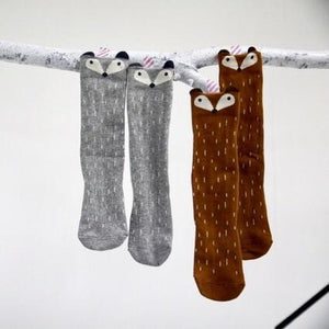 Raccoon Knee Socks in Grey, Mini Dressing - BubbleChops LLC
