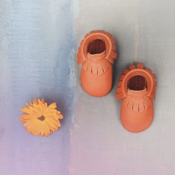 Tomato Traditional Handmade Moccasins, Amy & Ivor - BubbleChops LLC