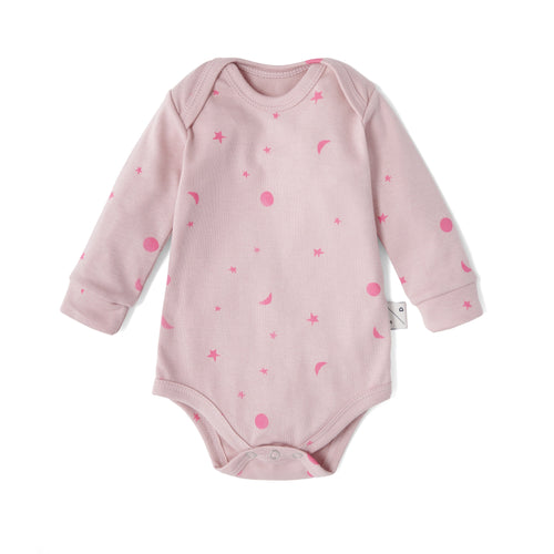 Organic Cotton Pink with neon tiny moons bodysuit, Sleepy Doe - BubbleChops LLC