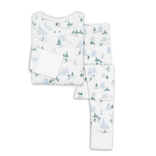 Alpine Adventure Mama Top & Bottom PJ Set, Sleepy Doe - BubbleChops LLC