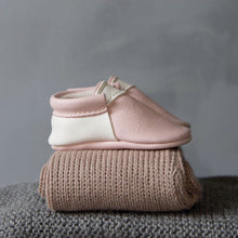Blush & White Handmade Urban Moccasins, Amy & Ivor - BubbleChops LLC