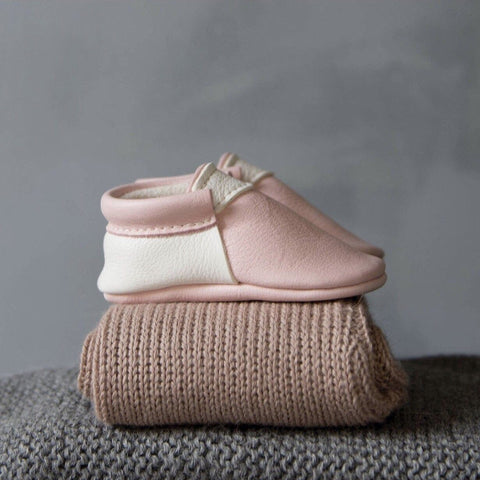 Amy & Ivor Blush/White Urban Moccasins, Amy & Ivor - BubbleChops LLC