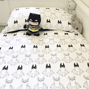 Super Batty Toddler Bed (Cotbed) Duvet & Pillowcase Set, Tobias & the Bear - BubbleChops LLC
