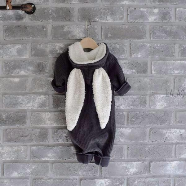 Winter Bunny Jumpsuit in Charcoal, Lala - BubbleChops LLC