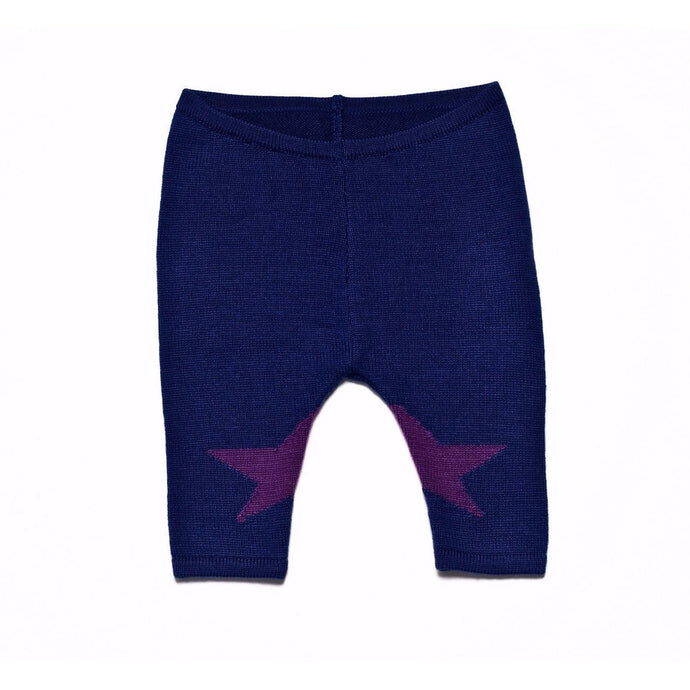 Cobalt Blue Star Knit Leggings, Roly Pony - BubbleChops LLC