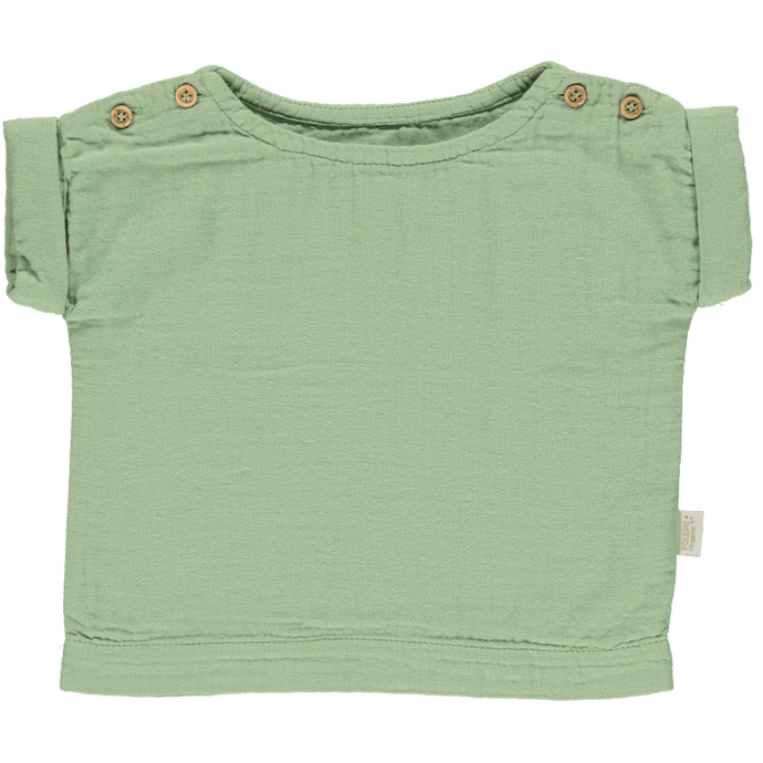 Lin Blouse in Green Jade (Organic Cotton), Poudre Organic - BubbleChops LLC