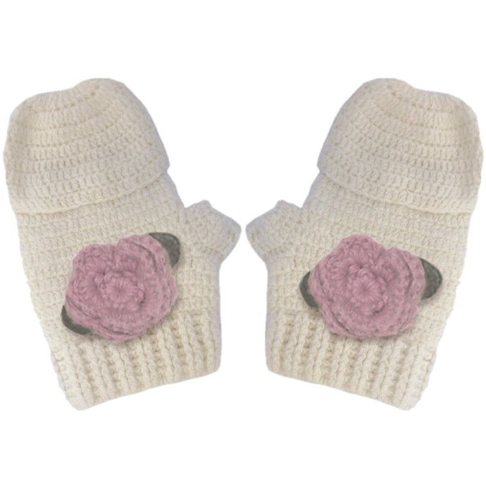 Hand crocheted Mittens with Pink Flowers, Aravore - BubbleChops LLC