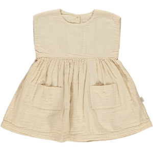 Organic Cotton Hibiscus Dress in Amberlight, Poudre Organic - BubbleChops LLC