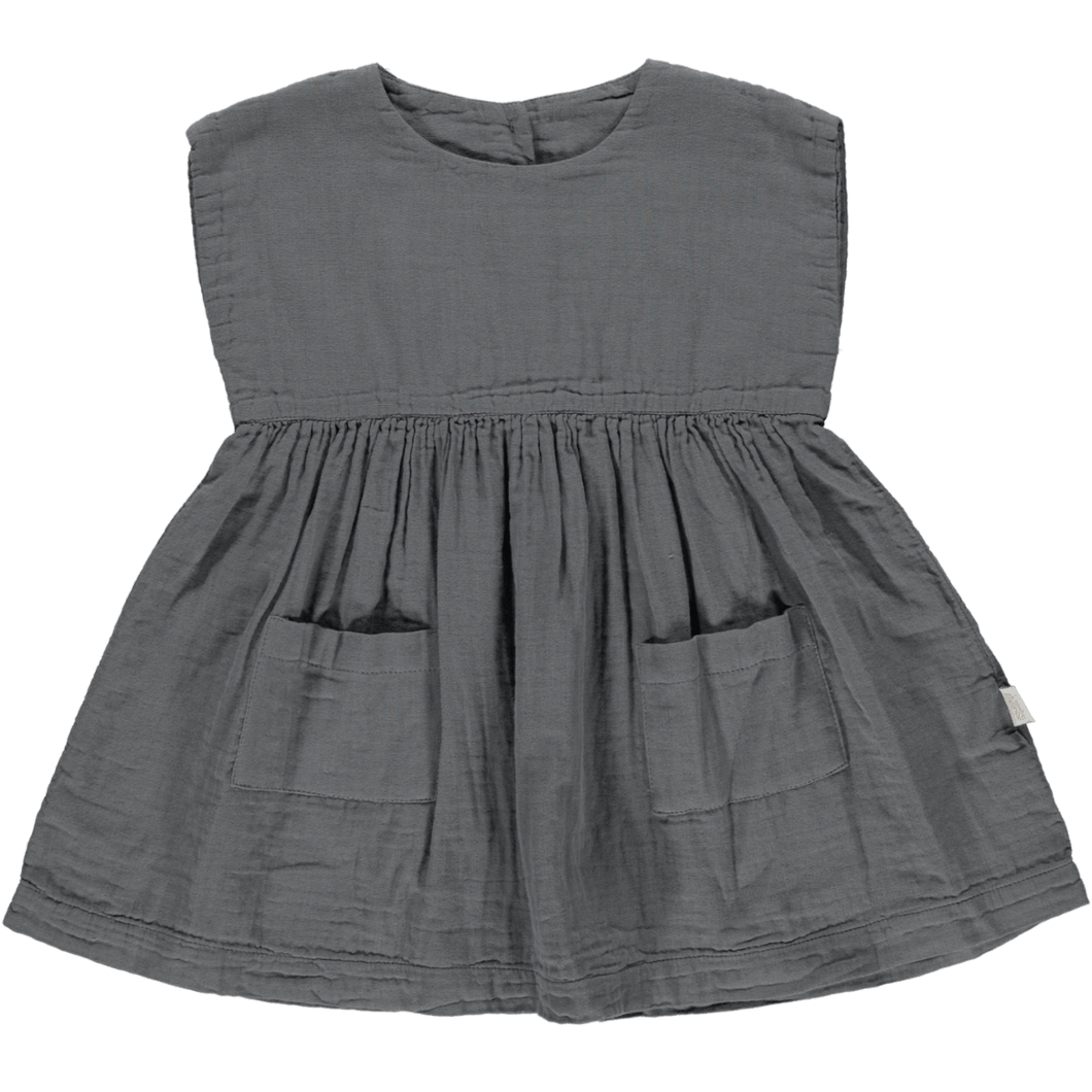 Organic Cotton Hibiscus Dress in Iron Gate, Poudre Organic - BubbleChops LLC
