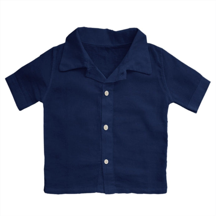 Organic Cotton Shirt in Navy, Aravore - BubbleChops LLC
