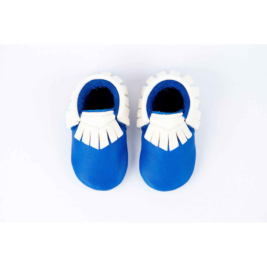 BubbleChops Exclusive Electric Blue/White Traditional Handmade Moccasins, Amy & Ivor - BubbleChops LLC