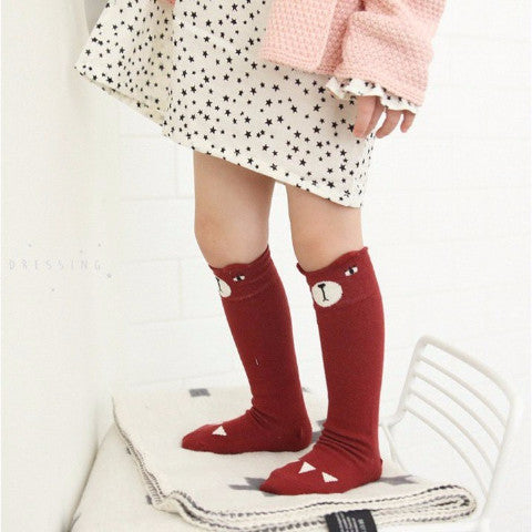 Bear Knee Socks in Dark Red, Mini Dressing - BubbleChops LLC
