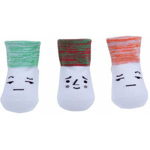 Faces Socks in Red & Green, Petites Pattes - BubbleChops LLC