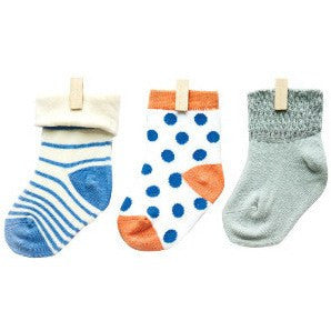 Petites Pattes - Faces Socks in Spots & Stripes - BubbleChops - 1