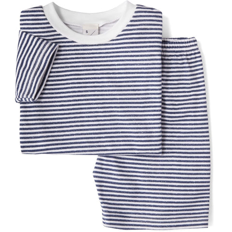 Sleepy Doe - Striped Short Sleeve Top & Shorts Set