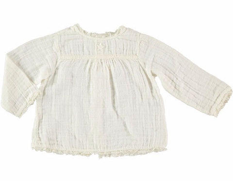 Tocoto Vintage - Girl Cotton Blouse with lace trim - BubbleChops - 1