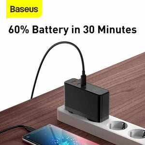 Baseus GaN Mini Quick Charger C+C+U 120W PD Fast Charging 4.0 QC3.0 Quick Charge USB Type C Fast Charger With 100W Type-C Cable For Laptop Tablet