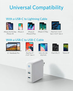 Anker PowerPort Atom PD 2 60W 2-Port USB C Charger, [GaN Tech] Ultra Compact Foldable Type C Wall Charger, Power Delivery for MacBook Pro/Air, iPad Pro, iPhone XR/XS/Max/X/8, Pixel, Galaxy, and More - Custom Mac BD