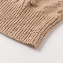 Round Neck Knitted Sweater with Pom Pom Details