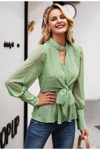 Polka Dot Chiffon Long Sleeve Blouse