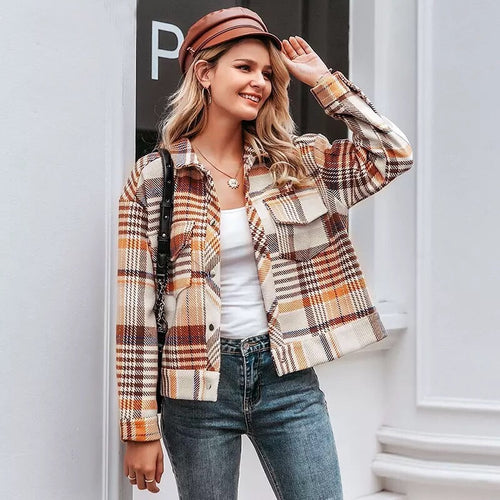 Single Breasted Plaid Jacket