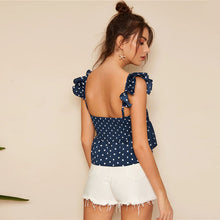 Ruffle Shoulder Straps Polka Dot Top