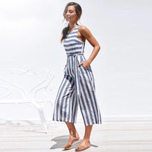 White Blue Belted Striped Jumpsuit