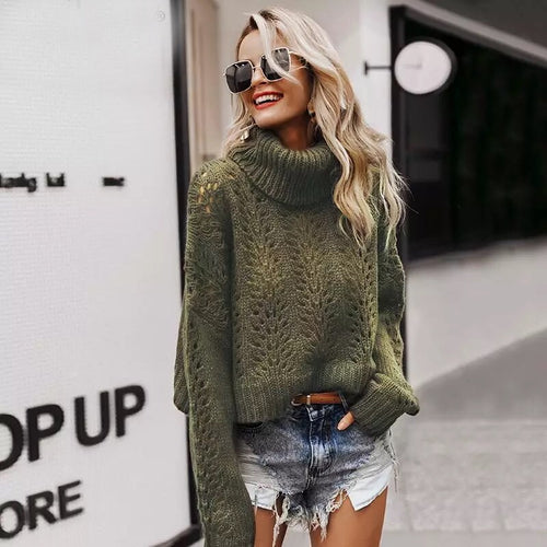 Turtleneck Hollow Out Knitted Sweater