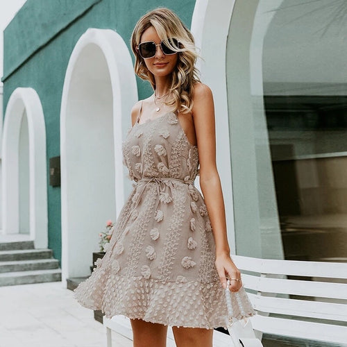 Flower Embroidered Chic Mini Dress