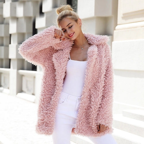 Rose Pink Faux Fur Coat
