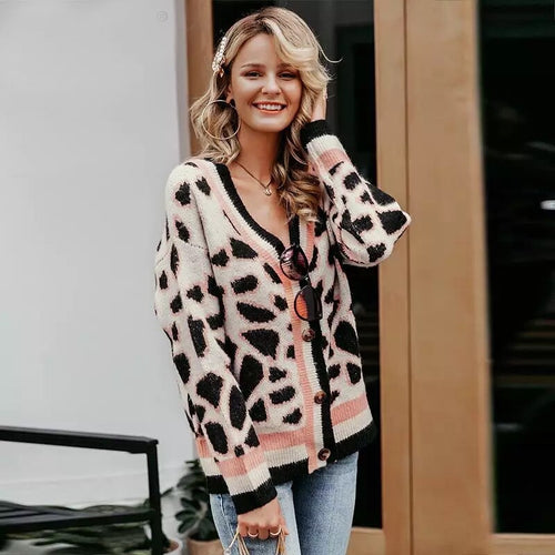 pink leopard print knitted cardigan