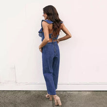 Wide Leg Open Back Ruffle Denim Jumpsuit
