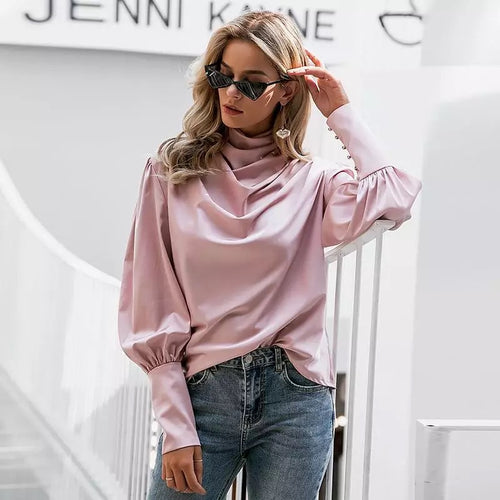 Turtle Neck Lantern Sleeve Rose Pink Blouse
