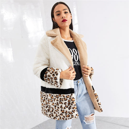 Multi Color Animal Print Teddy Coat