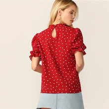 Puff Sleeve Printed Hearts Red Blouse Top