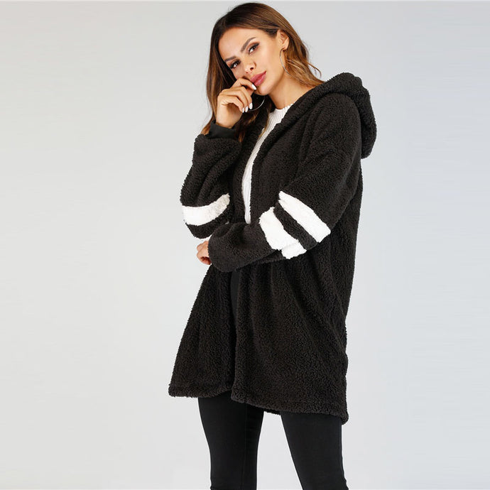 Black Teddy Jacket Coat with Hood