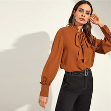 Tied Neck Long Sleeve Blouse