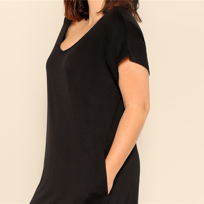 Plus Size Black Slant Pocket Maxi Dress