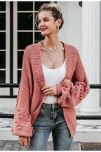 Oversized Lantern Sleeve Knitted Cardigan