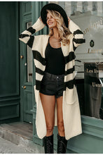 Striped Knitted Long Cardigan