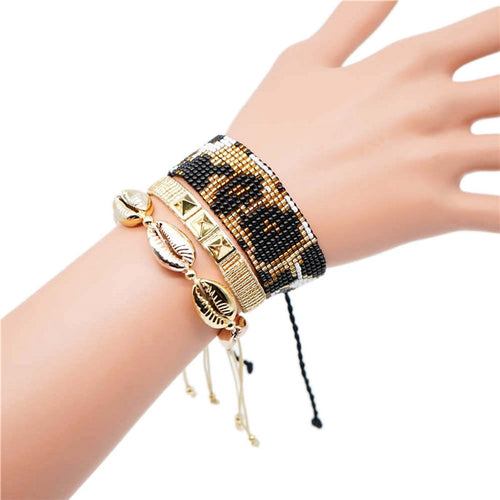 Bohemian Capsule Three Piece Animal Print Bracelet Set