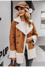 Suede and Fur Coat Camel Color