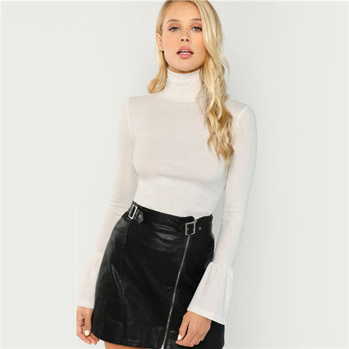 Turtle Neck Ruffle Sleeve Basic Top