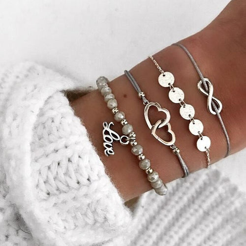 So In Love Silver Tone Four Pc Bracelet Set