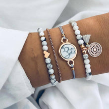 White Marble Four Pc Bracelet Set