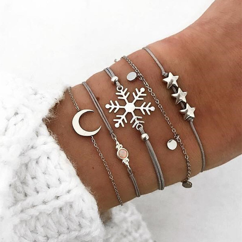 Snowflake Moon Star Bracelet Set