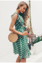 Polka Dot V Neck Summer Midi Dress Green